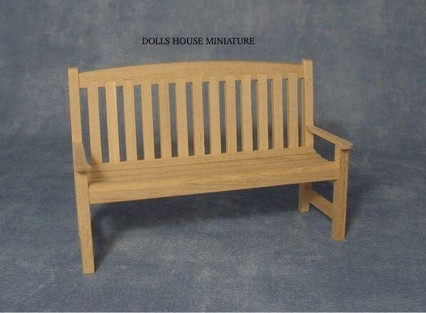 Pain Wood Garden Bench, Miniature Dolls House Garden Accessory. Wooden Furniture