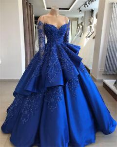 88b619224e4 Das Bild wird geladen Koenigsblau-Vintage-Ballkleid-Quinceanera-Kleider -Lange-Armel-Perlen-