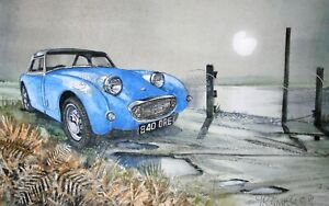 Cars-Of-The-Past-1958-Austin-Healey-Frog-Eye-Sprite-Metal-Sign-3-Sizes-To-Choose