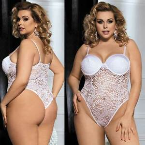 9d7d7cd9c White Lace Teddy Bridal Lingerie Plus Size XL 3XL 5XL Wedding Push ...
