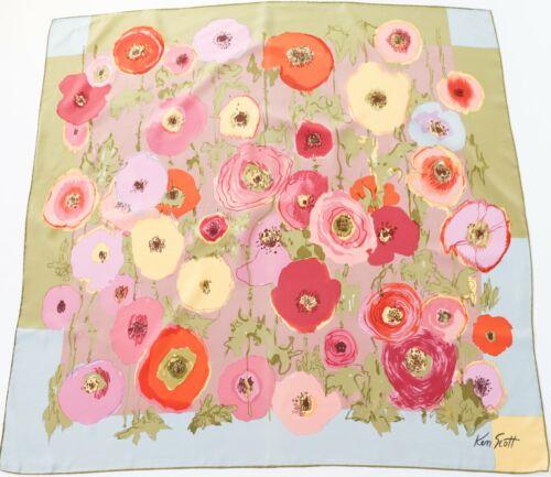 Ken Scott Vintage Silk Scarf Floral Print - LARGE