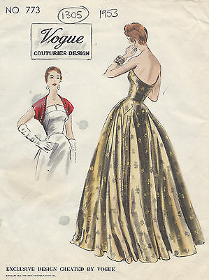1953 Vintage VOGUE Sewing Pattern B30 EVENING DRESS/GOWN & BOLERO (E1305)