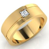 0.12 Ct SI1 Real Diamond Engagement Ring 14K Yellow Gold Mens Band Size U