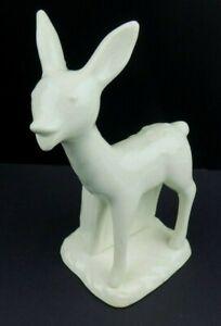 Vintage Mid Century Deer Planter Vase White Pottery Japan Fawn Crackle Glaze