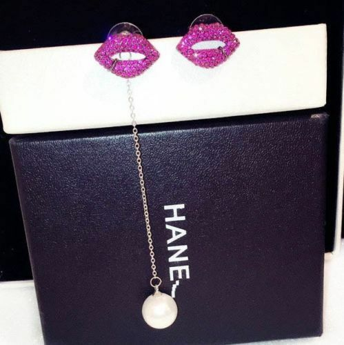 18K Gold Plated Asymmetry Hot Pink Crystal mouth Lip Pearl Drop Earrings