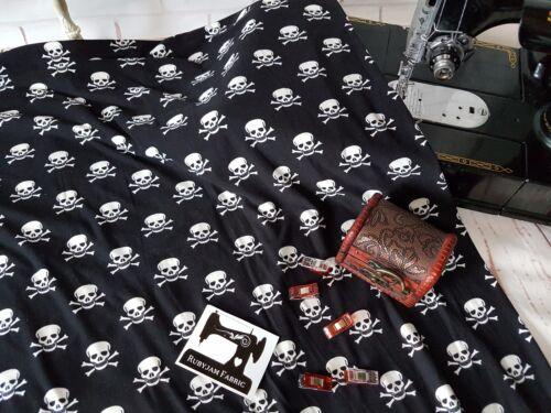 50cm Skulls Crossbones double brushed poly lycra 96//4 fabric 4 way stretch knit