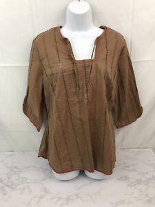 Venezia-3-4-Sleeve-Blouse-Womens-14-16-Boho-Hippie-Embellished-Brown-Shirt-Top-L