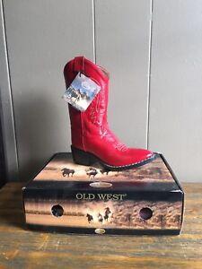 Old West Tan Youth Boys Corona Calf Buckaroo Cowboy Western Boots