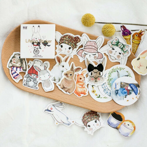 45Pcs Cute Bunny Stickers Decor DIY Scrapbooking Albums Planner Diary Stickers