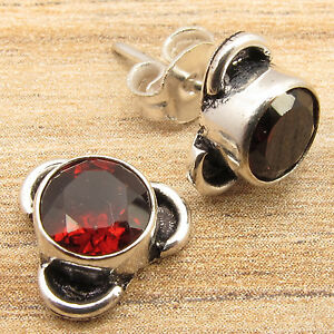 Hot-Selling-RED-GARNET-HANDMADE-Stud-Earrings-Silver-Plated-Over-Solid-Copper