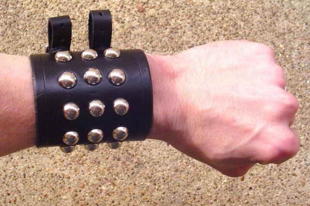 Medieval Leather Wrist Bracers Arm Armor sca larp or biker cuff punk Ren cowboy