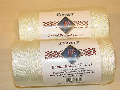 2 Usa #36 Round Braid Nylon Twine Rope,540 Ft Each 360 Lbs Tensile Net Repair