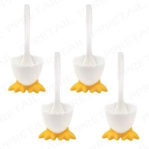 4 X Spoons Novelty Eggcups W Feet Boiled Egg Holder Breakfast Lunch Kitchen