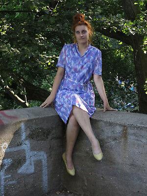 Acquista A Buon Mercato Donna Vestito Abito Estivo Blu Lilla Bianco True Vintage 70s Woman Dress With Belt-mostra Il Titolo Originale Le Materie Prime Sono Disponibili Senza Restrizioni