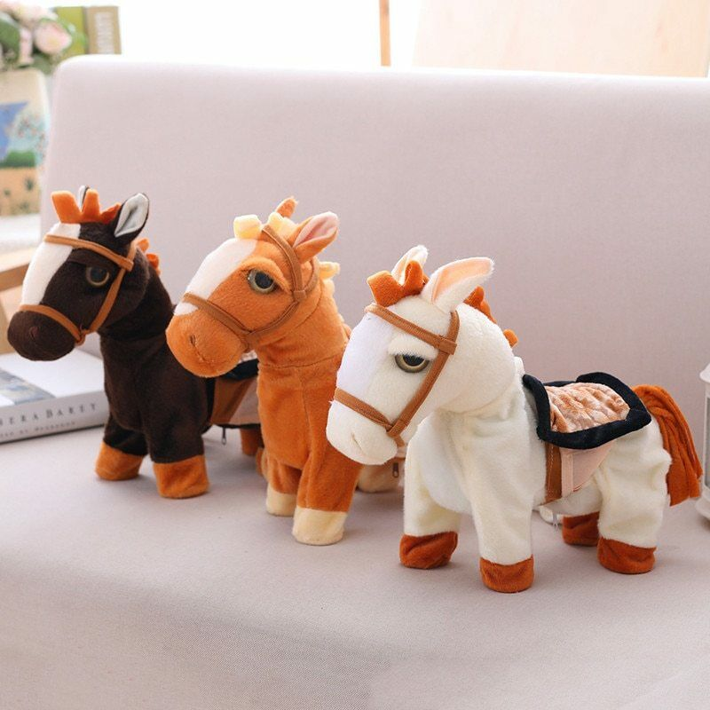 3PC Walk Along Toy Stuffed Plush Pony Horse Realistic Walking Actions with Music
