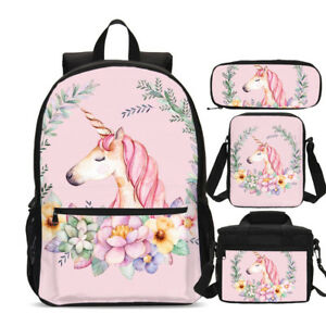 Pink Unicorn Teens Girls Big Backpack Insulated Lunch Box