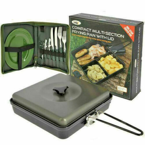 NGT Compact Camping 3 Way Multi Section Frying Pan with Lid and Cutlery Set