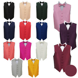 DQT-Boys-Waistcoat-Bow-Tie-Set-Plain-Solid-Check-Wedding-Vest-FREE-Pocket-Square