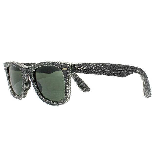 23c247011bdb03 Ray-Ban Rb2140 1162 Wayfarer Denim Black Jeans Green Lens Sunglasses ...