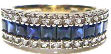 EFFY 14K WHITE GOLD DIAMOND & BLUE SAPPHIRE STACKABLE STACKING RING BAND SZ 7.25