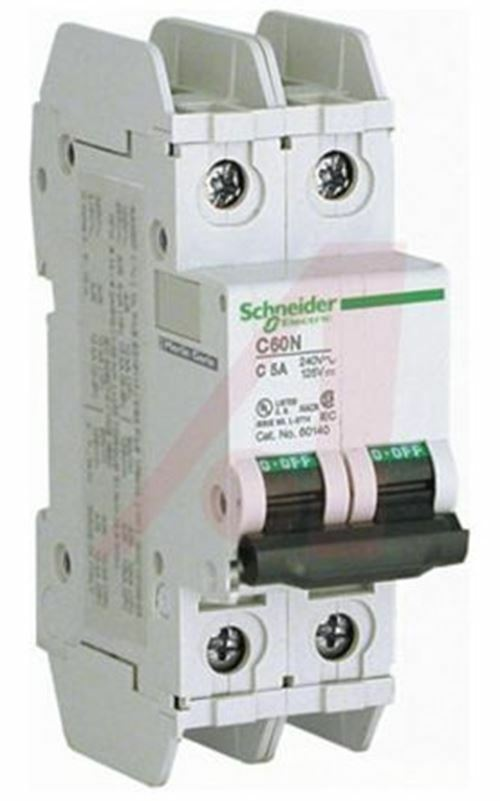 C60 MCB Mini Circuit Breaker 2P, 2 A, 10 kA RMS RMS kA @ 125 V DC, 20 KA RMS @ 240 V AC 3ba79a
