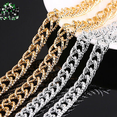 NEW 1Meter Gold Silver Plated Aluminium Open Link Metal Chain Jewelry Findings