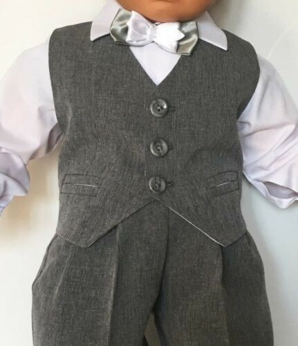 Baby Boy Christening Baptism Party Smart Suit Outfit Grey 0 3 6 9 12 18 24 m