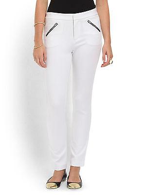 Catherine Malandrino Karina Straight Leg Ponte Pant in White-NWT-RP: $225