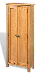 Tall Slim Cabinet Cupboard 6 Shelves Storage Unit 2 Doors Solid Oak Furniture 759548948625 Ebay