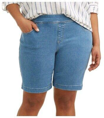 Catherines Plus Size 4X Denim Blue Jean Skirt Knee Length w Pockets Stretch