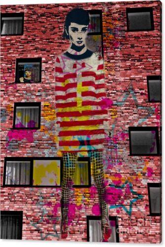 Audrey Hepburn DADAISMUS XXL 120 x 80 TELA POP ART//PITTURA//STREETART//immagine