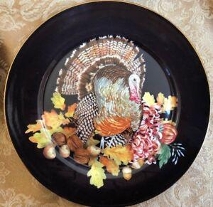 1-NEW-WILLIAMS-SONOMA-Thanksgiving-Harvest-Pumpkin-Turkey-Salad-Plate-Multiples