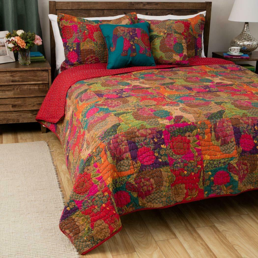 BEAUTIFUL MODERN rot Blau AQUA BOHO TROPICAL EXOTIC BOHEMIAN MGoldCCAN QUILT SET