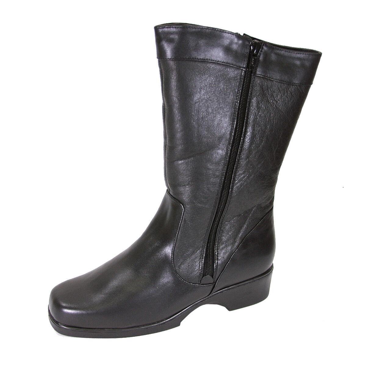 FIC PEERAGE Maya Women Wide Width Leather Dual Side Zip Mid-Calf Boot