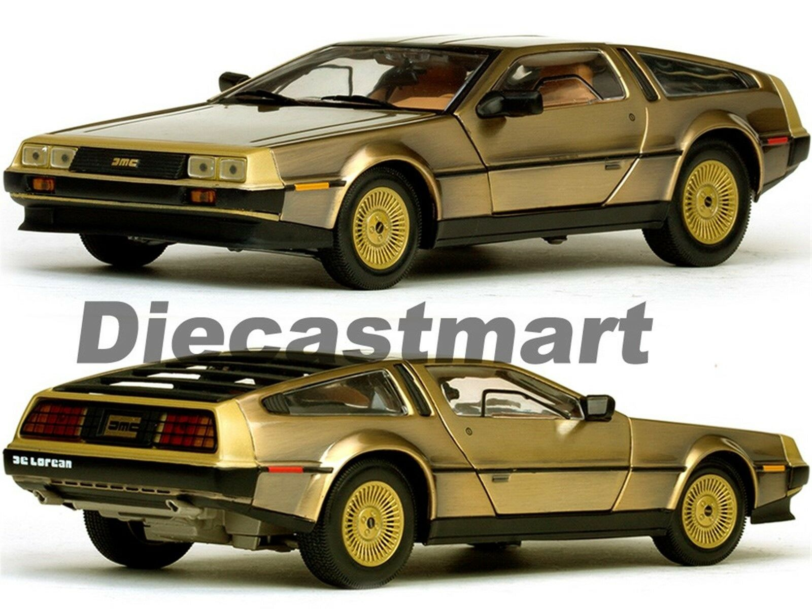 SUNSTAR 1 18 1981 Delorean DMC Retour vers le Futur Voiture Miniature Édition Or