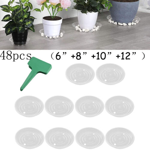24x Flower Plastic Pot Bottom Trays Plant Base Water Drip Tray Saucer W// Labels