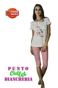 1f49cf866730 Caricamento dell'immagine in corso Pigiama-Donna-Corto-Mezza-Manica-Estivo -in-Puro-