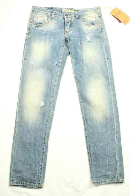Adamus Herren Jeans Distressed Knopf Fly Slim Größe 36 Hergestellt In Italien