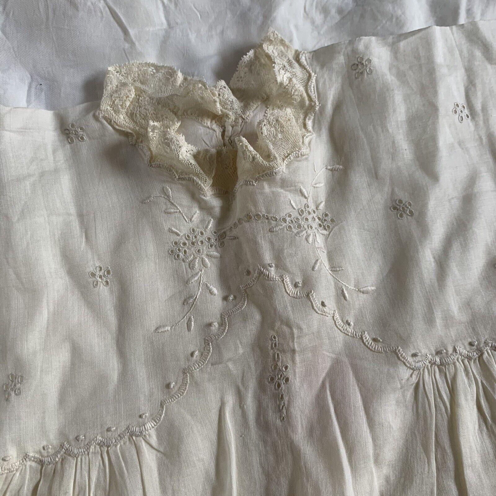 Antique Edwardian Kids Cotton Eyelet Embroidered … - image 10