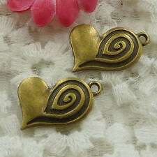 Free Ship 40 pieces bronze plated heart charms 24x19mm #1297