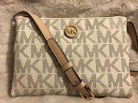 Michael Michael Kors Mk Signature Pvc Fulton Ew Crossbody Bag In Vanilla