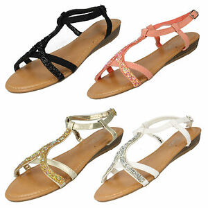 8fc8d826bf39 SALE LADIES SPOT ON LOW WEDGE HEEL ANKLE STRAP GLITTER SUMMER ...