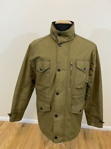 BARBOUR BEAUFORT Green Waxed Cotton Barn Quilted Jacket ...