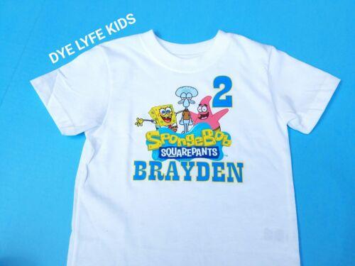 Custom Cartoon Character child kids birthday shirt spongebob squidward patrick