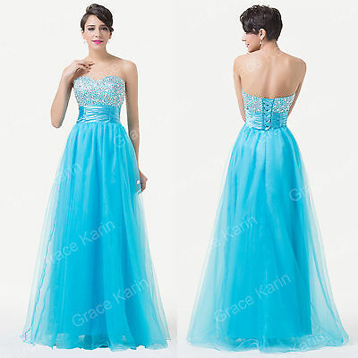 Sweet 18 Long Formal Beaded Gown Bridesmaid Evening Party Quinceanera Prom Dress
