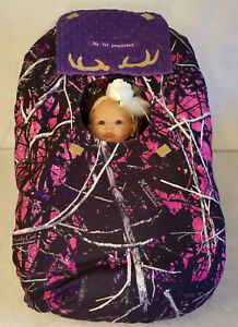 Infant Car Seat Cover Muddy Girl Camo Baby True Purple Minky