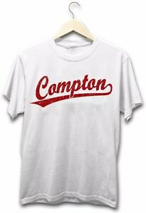 Compton-Baseball-Style-Logo-Gangster-Hip-Hop-Rap-Music-LA-New-Mens-White-T-Shirt