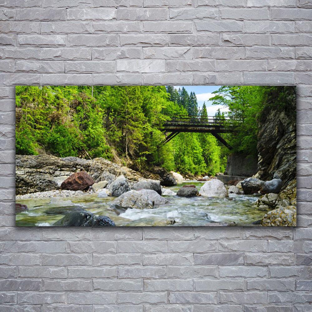 Photo sur toile Tableau Image Impression 120x60 Paysage Forêt Pierres Pont Lac