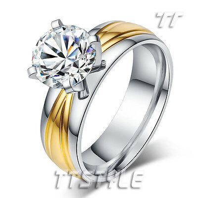 Gorgeous TTstyle Two-Tone Gold Stainless Steel Wedding Band Comfort Ring Size 7