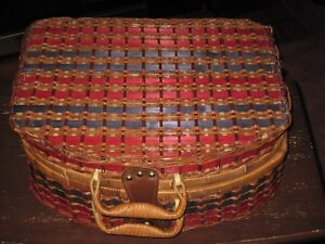 VINTAGE RED, BLUE, BROWN WICKER/RATTAN SUITCASE-STYLE GINGHAM PICNIC BASKET